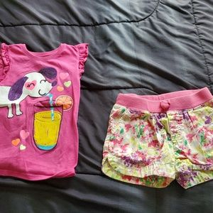 girl 5T flower shorts and pink tee